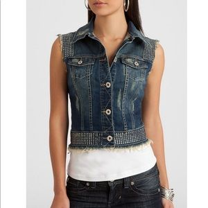 NEW Guess Gretchen Jean Vest with Rhinestones